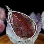 Srebrny wisior z agatem koronkowym czerwony
