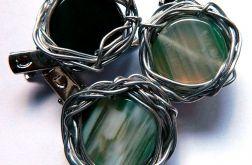Broszka z zielonym agatem, wire wrapping