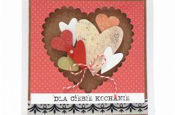 Kartka dla kochanej osoby - bukiet serc
