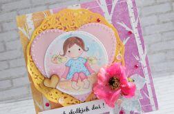 Kolorowa dziecięca kartka z dziewczynką