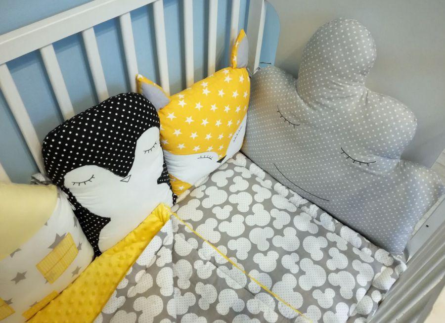 Ochraniacz modułowy do łóżeczka żółto szary