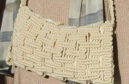 makrama, torebka ecru na długim pasku