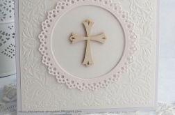 Zaproszenie na Chrzest z ażurową serwetką
