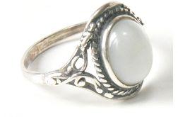 67 pierścionek vintage, srebro, kocie oko