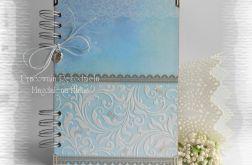 Notes niebiesko-brązowy z dodatkiem różu