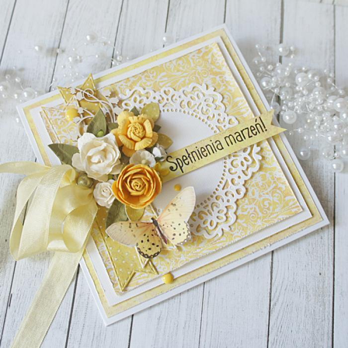 Kartka urodzinowa w pudełku v.3 - kolor żółty2