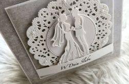 Kartka ślubna beżowa z cyrkoniami