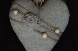 Len, sznur & drewno - zawieszka