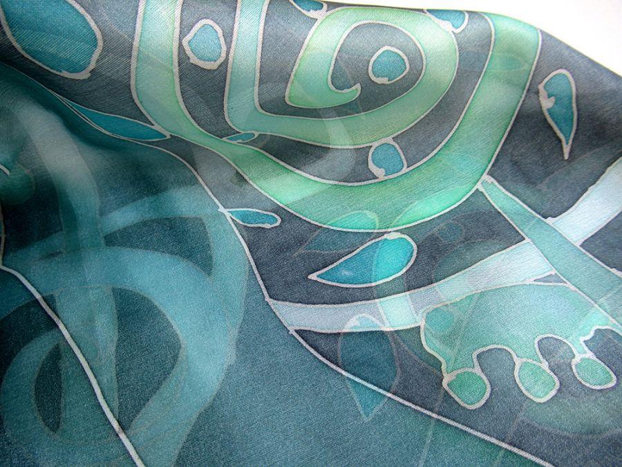 Jedwabna apaszka Rośliny w tonacji zielonej - Jedwabna ręcznie malowana apaszka Rośliny