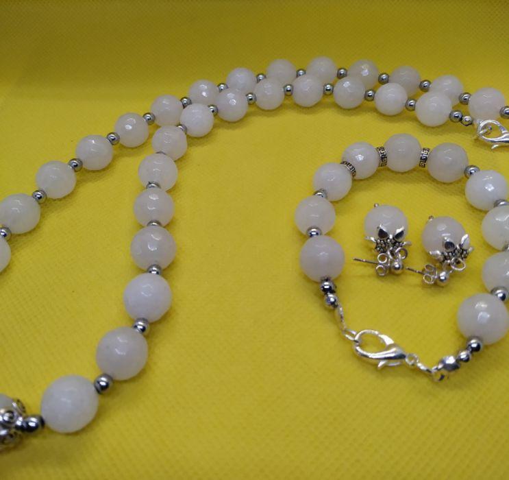 Komplet biżuterii z mistycznego białego jadeitu - Zestaw biżuterii z wysokiej jakości białego jadeitu