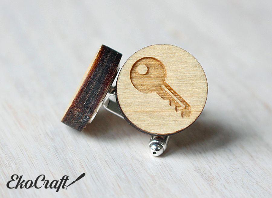 Drewniane spinki do mankietów KLUCZ - klucz 3