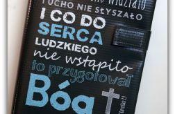Okładka etui na Biblię czego oko nie widziało-ciemna/Warszawska, Tysiąclecia, Edycja św. Paweł, Nowe Przymierze