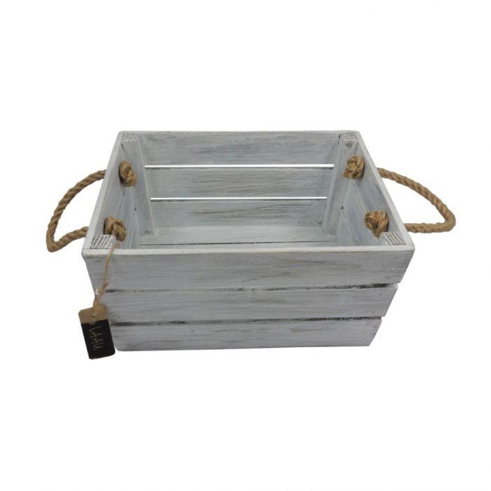 Skrzynka drewniana biało szara 20x31x16,5