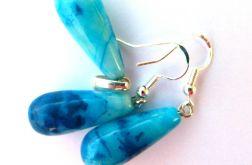 Niebieski agat crazy, srebro,zestaw biżuterii