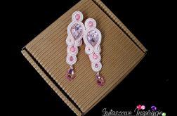 Różowe kolczyki ślubne swarovski