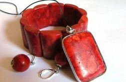 Biżuteria z czerwonym koralem, zestaw 3 szt