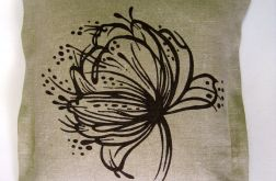 Poszewka z surowego lnu ręcznie malowana