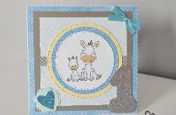 Kartka na roczek niebieska zebry 2