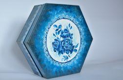 Szkatułka sześciokątna, błękitna