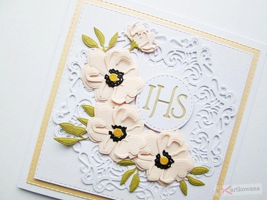 Kartka PAMIĄTKA I KOMUNII z Hostią #11 - Kartka komunijna z brzoskwiniowymi kwiatami