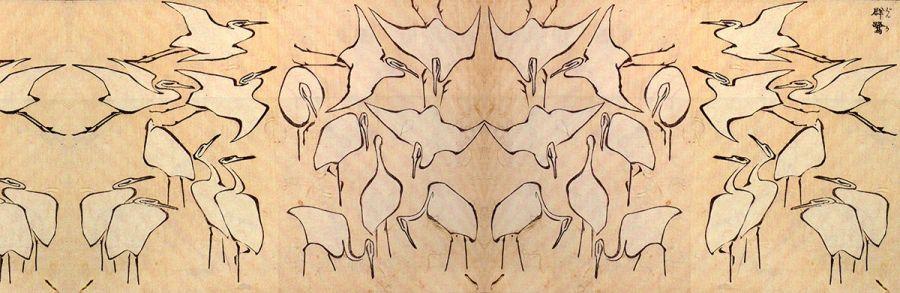 Szal Hokusai - Żurawie