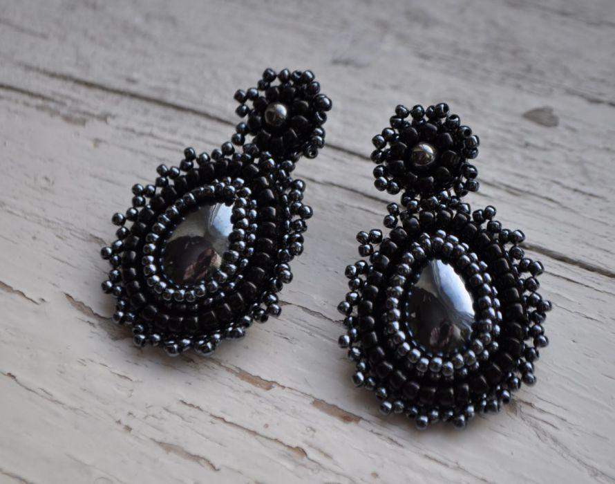 Kolczyki koralikowe czarne