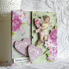 Kartka ślubna- różowe serca