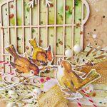Kartka świąteczna z ptaszkami i klatką