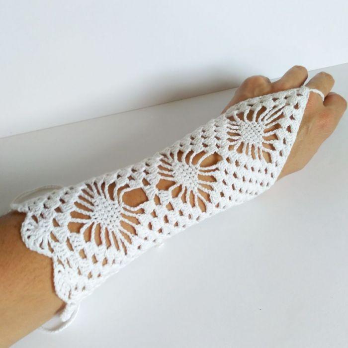 Rękawiczki szydełkowe do sukienki