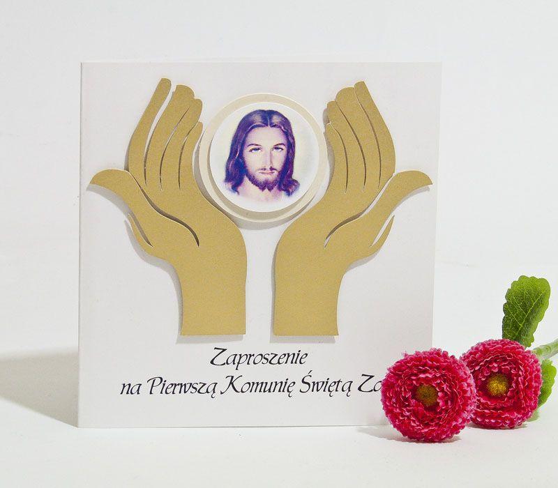 Zaproszenia na Pierwszą Komunię Świętą dłonie -