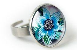 Blue flower pierścionek z ilustracją