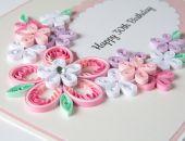 Oryginalna kartka na 30 urodziny, Quilling, kolor różowy