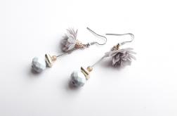 Kolczyki z tiulowym kwiatkiem szare