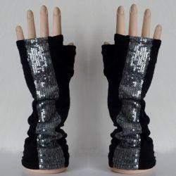 Rękawiczki mitenki błyszczące cekiny
