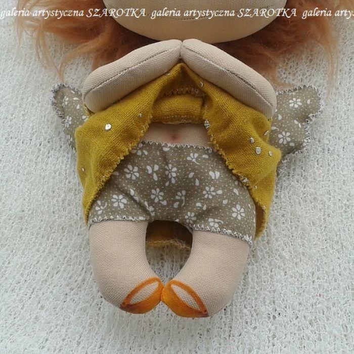 ANIOŁEK lalka - dekoracja tekstylna, OOAK /16 - mam majteczki w kwiatki