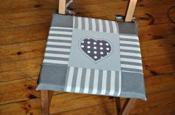 4 siedziska, poduszki na krzesło -szare serce