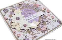 Kartka ślubna białe i fioletowe kwiaty i róże