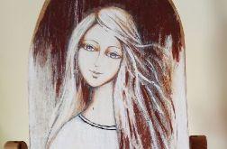 Biały anioł z gołąbkiem - obraz na desce