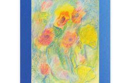 Rysunek kwiaty na granatowym  tle nr 12 szkic