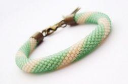 Bransoletka wąż zielono-beżowa2