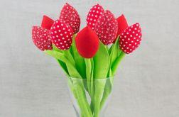 Tulipany, kwiaty z materiału czerwone