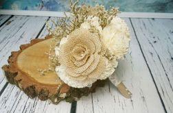 Bukiet ślubny juta, koronka, kwiaty sola