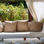 Poduszka dekoracyjna ogrodowa 45x45 chabrowy