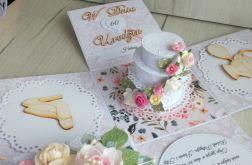 Exploding box urodzinowy z tortem z kwiatami