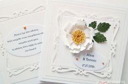 Kartka ŚLUBNA w bieli - z cytatem