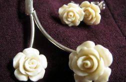 Kremowe róże z korala i srebro, duży zestaw