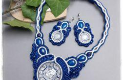 Naszyjnik i kolczyki sutasz mandala niebieski