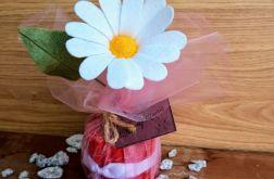 Margaretka - kwiat z filcu -czerwona doniczka