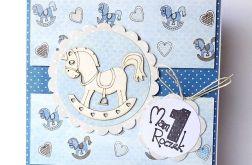 Kartka na roczek z konikiem niebieska 10517