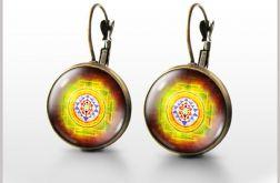 Kolczyki - Mandala, Shri Yantra - bigle angielskie - antyczny brąz
